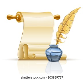 Vector illustration of paper scroll with feather pen and ink pot on white background.