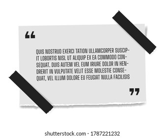 Vector illustration of paper sheet with profound gray paper quote attached to white wall. Space for text realistick banner template.