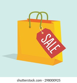 Vector illustration of paper shopping bag with sale tag.