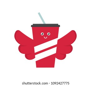 Vector illustration of Paper Soda Sipper with Wings. Flying Soda Concept. Soda Character