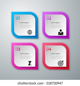 Vector illustration of paper squares infographics.