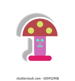 Vector illustration paper sticker Halloween icon mushroom with smiley face
