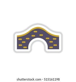 Vector illustration in paper sticker style Brick bridge