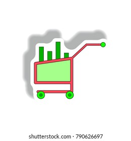 Vector illustration in paper sticker style. infographic design of column chart in trolley