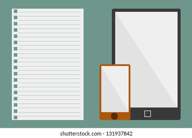 Vector Illustration of paper and tablets