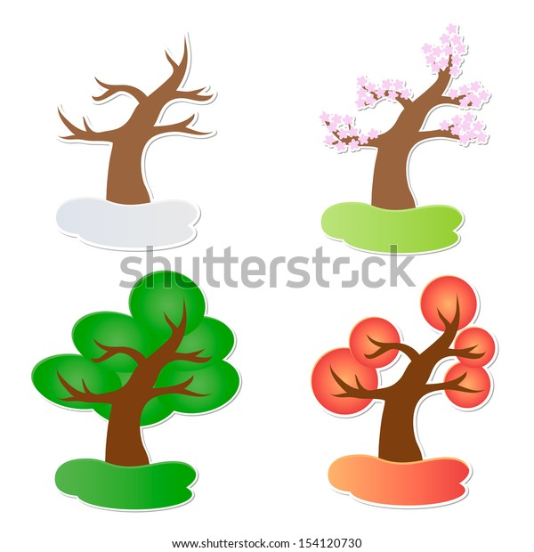 Vector illustration of paper tree in four seasons