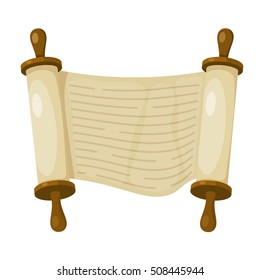 Vector illustration of papyrus on a white background. Scroll paper. Cartoon image of the 