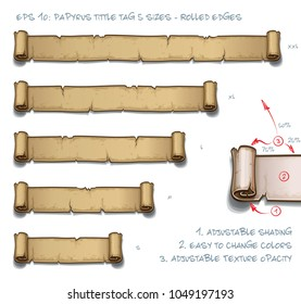 Vector Illustration of a Papyrus Tittle Scroll Tag with Rolled Edges. Set of five sizes Small Medium Large and two Extra Large. All elements neatly on well-defined Layers and Groups