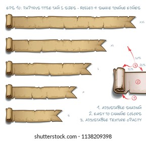 Vector Illustration of a Papyrus Tittle Scroll Tag with Rolled and Snake Tongue Edges. Set of five sizes Small Medium Large and two Extra Large. All elements neatly on well-defined Layers and Groups
