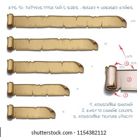 Vector Illustration of a Papyrus Tittle Scroll Tag with Rolled and Creased Edges. Set of five sizes Small Medium Large and two Extra Large. All elements neatly on well-defined Layers and Groups