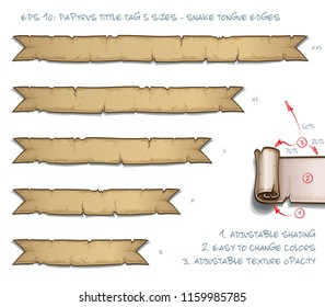 Vector Illustration of a Papyrus Tittle Scroll Tag with Snake Tongue Edges. Set of five sizes Small Medium Large and two Extra Large. All elements neatly on well-defined Layers and Groups