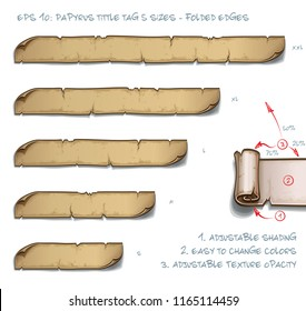 Vector Illustration of a Papyrus Tittle Scroll Tag with Folded Edges. Set of five sizes Small Medium Large and two Extra Large. All elements neatly on well-defined Layers and Groups