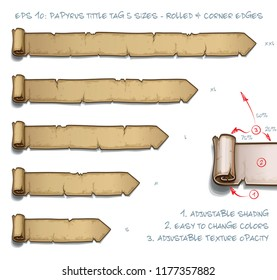 Vector Illustration of a Papyrus Tittle Scroll Tag with Rolled and Corner Edges. Set of five sizes Small Medium Large and two Extra Large. All elements neatly on well-defined Layers and Groups