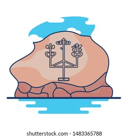 Vector Illustration of Paracas Candelabra In Peru