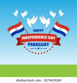 Vector illustration for Paraguay Independence Day celebrations. Can be used for poster, banner, background, symbol, patriotic elements, greetings, print design and labels.