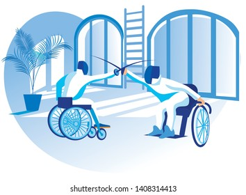 Vector Illustration Paralympic Competition Flat. Wheelchair Fencing. Disabled People in Special Clothes do Sports. Sport for People with Physical Disabilities Creates Conditions for Livelihoods.
