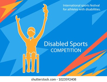 Vector illustration with paralympic sportsman. Silhouette disable girl on colored background. International sports festival for athletes with disabilities. Graphic image disablities sports.