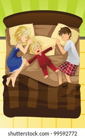 A vector illustration of parents sleeping with their young child in the same bed