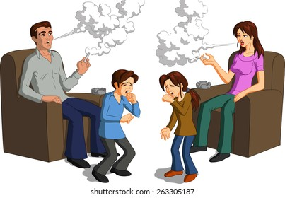 Vector illustration of parents smoking near their coughing children.