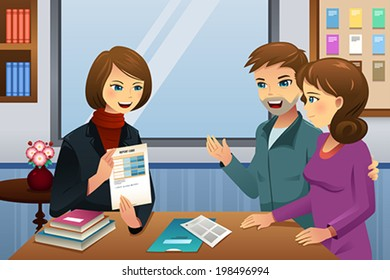 A vector illustration of parents and teacher meeting discussing the student class performance
