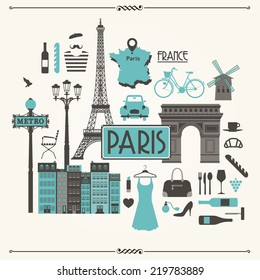 Vector illustration of Paris in France