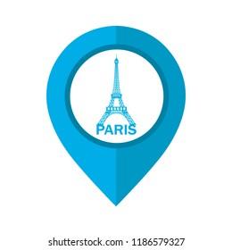 Vector illustration of Paris map location pin.