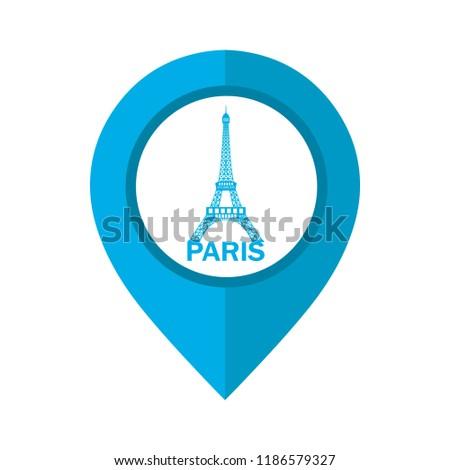 Vector Illustration Paris Map Location Pin Stock Vector Royalty