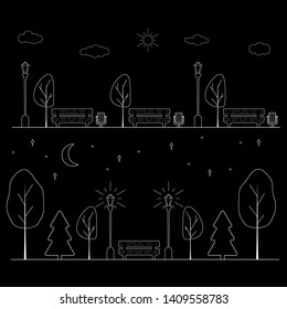 vector illustration of park in the black and white colours, daytime with clouds and night time with new moon and stars. outline bench, trees, trash cans and street lights