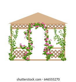 Vector illustration of park and garden pavilion with climbing flowers in flat style, isolated on white background. Vertical gardening sign. Outdoor decor element.
