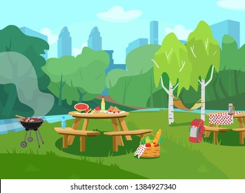 Vector illustration of park scene in city  with tables with food and barbeque. Cityscape at the background. Picnic basket with fruits, vegetables and baguette. Cartoon style.