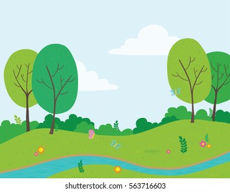 Vector illustration of park with stream of water running through
