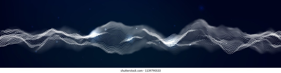 Vector illustration of a particle. Abstract waves of the current.