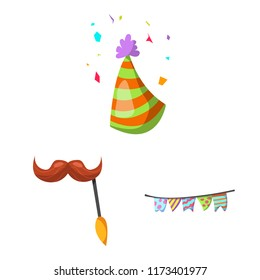 Vector illustration of party and birthday sign. Collection of party and celebration stock symbol for web.