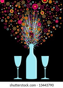 vector illustration of a party bottle exploding on opening