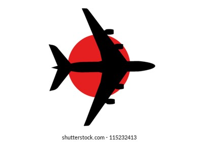 Vector Illustration of a passenger plane flying over the flag of Japan