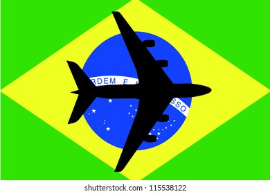 Vector Illustration of a passenger plane flying over the flag of Brazil