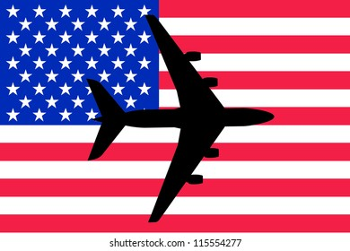 Vector Illustration of a passenger plane flying over the flag of United States of America