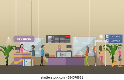 Vector illustration of passengers going through check-in counters at the airport. Ticket counter, baggage check-in, metal detector. Airport terminal concept design element in flat style.