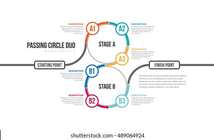 Vector illustration of passing circle duo infographic design element.