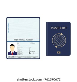 Vector illustration passport with biometric data. Identification Document.  international passport template with sample personal data page