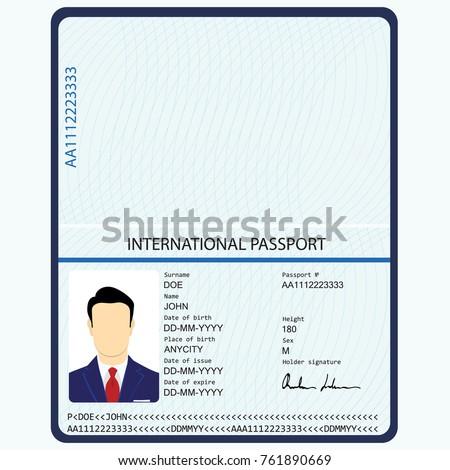 vector illustration passport biometric data identification の