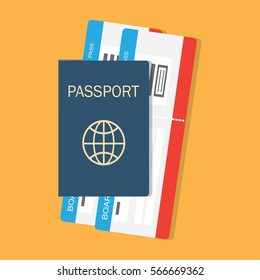 vector illustration passport with tickets, passport and boarding pass tickets icon