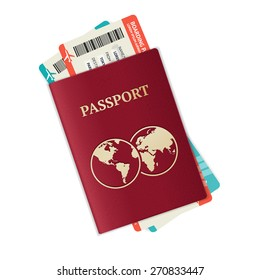 Vector illustration passport with tickets. Holiday and vocation concept.