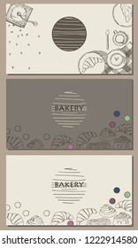 Vector illustration. Pastries and coffee. Cinnabon, croissant, macaroons. Coffee grinder, cup of coffee, milkman, teaspoon. Card design. Pen style drawing.