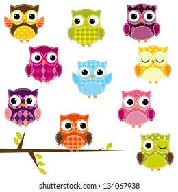 Vector Illustration of Patchwork Owls