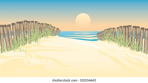Vector illustration a path with timber piles to the beach by the sea with wonderful view on the sunset romantic beach ambiance