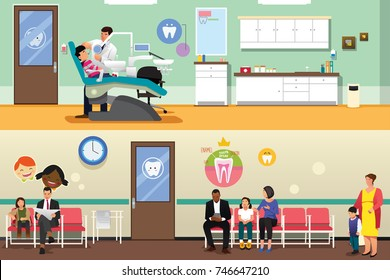 A vector illustration of Patients and Dentist at Dental Office