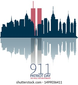 vector Illustration of patriot day background, September 11, we will never forget sunset