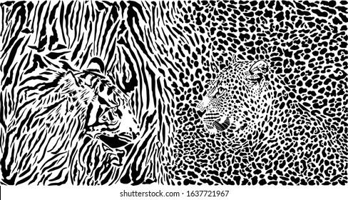 vector illustration pattern background tiger and leopard skins