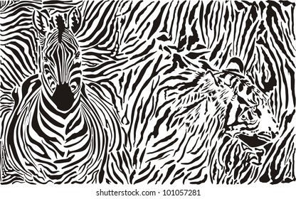 vector illustration pattern background zebra and tiger skins